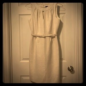 White silver pattern belted Jackie O style dress